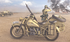 Rubicon Models 28mm Motorcycle R75 with Side car DAK