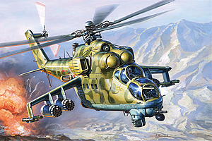 1/144th Zvezda Mil 24 Hind Attack Helicopter