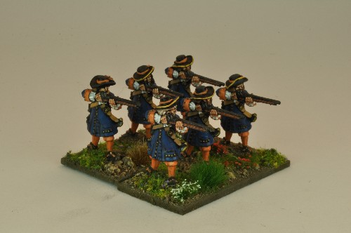 Musketeers with Flintlocks firing