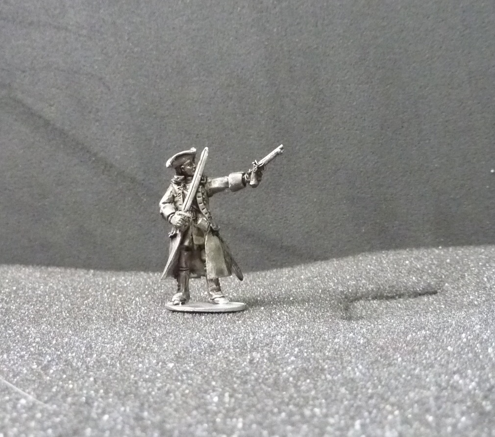 Dismounted Officer/ADC in overcoat sword and pistol
