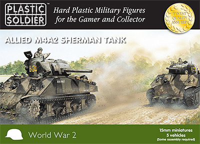 15mm WW2 Allied M4A2 Sherman Tank