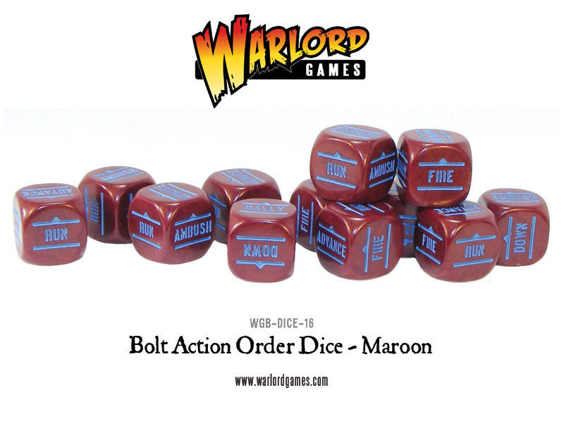 New style: Bolt Action Orders Dice packs - Maroon