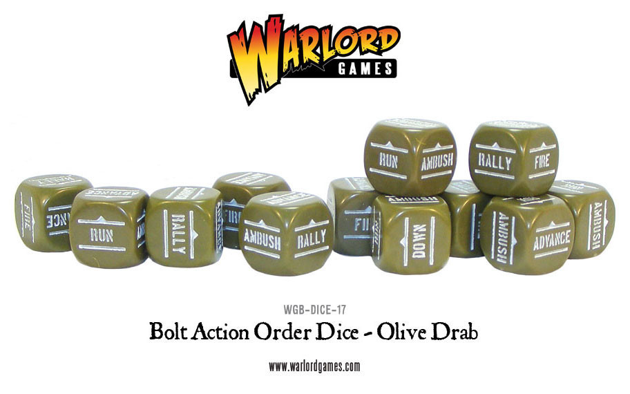 New style: Bolt Action Orders Dice packs - Olive Drab