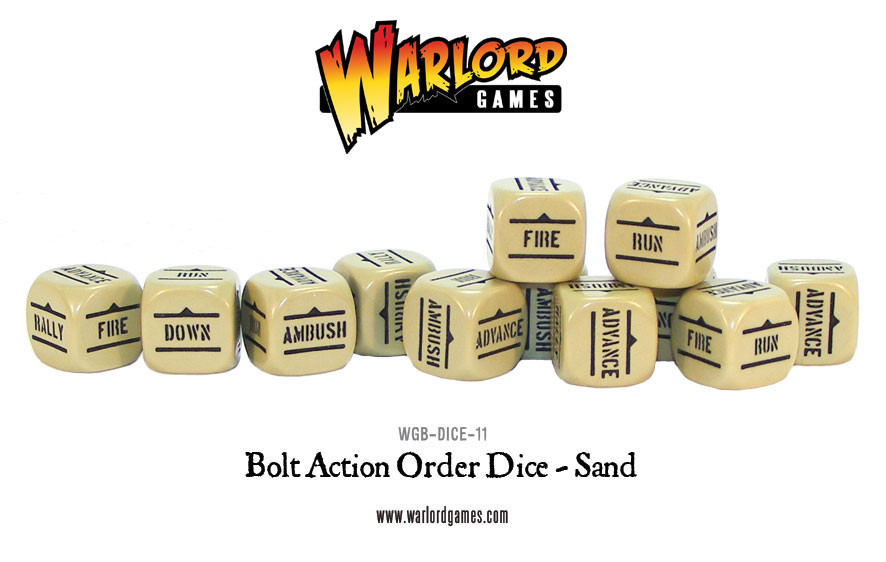 New style: Bolt Action Orders Dice packs - Sand