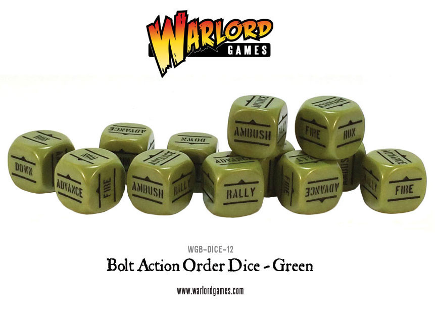 New style: Bolt Action Orders Dice packs - Green